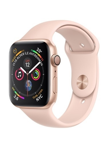 Apple Seri 4 44mm GPS Altın Rengi Alüminyum Kasa ve Kum Pembesi Spor Kordon - (MU6F2TU/A) Renkli